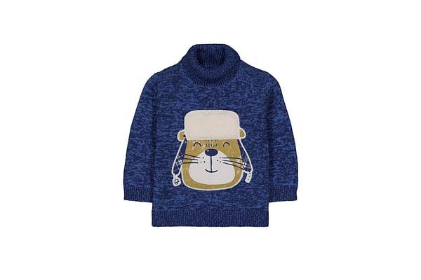 Blue Bear Knitted Roll Neck Jumper