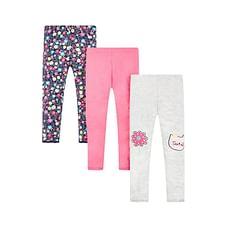 Girls Cat And Floral Print Leggings - Pack Of 3 - Multicolor