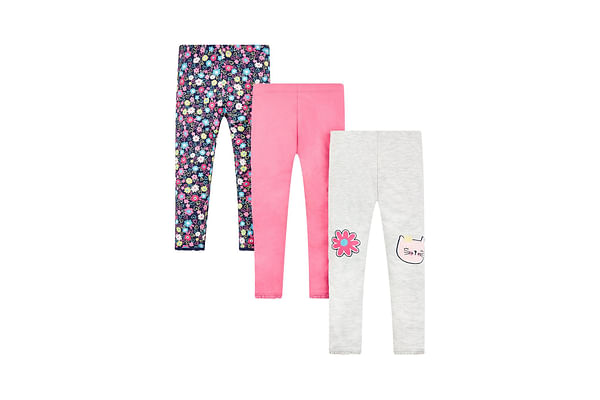 Girls Cat And Floral Print Leggings - Pack Of 3 - Multicolor