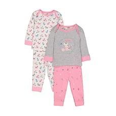 Girls Full Sleeves Cat Print Pyjamas - Pack Of 2 - Pink