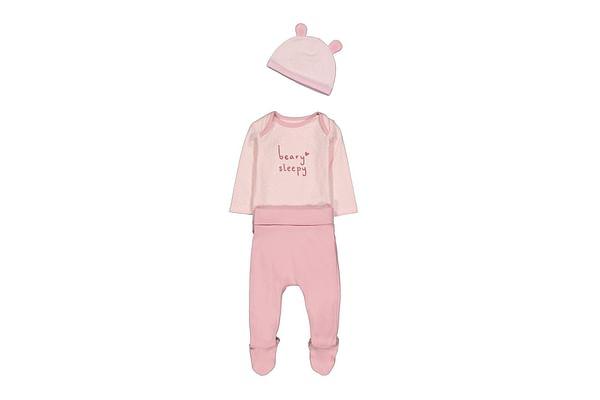 Girls Full Sleeves 3 Piece Set Bear Patch - Pink