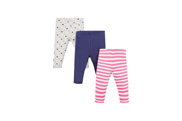 Girls Legging Polka Dot & Stripe Print With Elasticated Waistband - Pack Of 3 - Pink Grey Navy