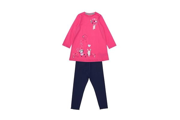 Pink Jersey Dress And Leggings Set