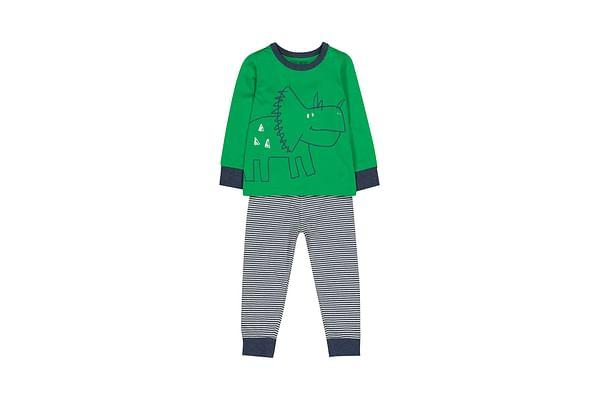 Boys Full Sleeves Pyjamas Dinosaur Print And Stripe - Green
