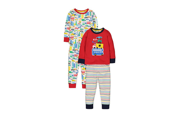 Boys Full Sleeves Pyjamas Vechile Print And Stripe - Pack Of 2 - Multicolor