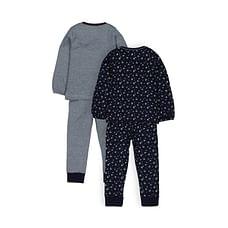 Girls Full Sleeves Pyjamas Floral Print And Stripe - Pack Of 2 - Navy
