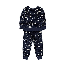 Boys Full Sleeves Pyjamas Moon And Star Print - Navy