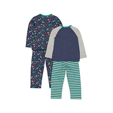 Boys Full Sleeves Pyjamas Dinosaur Print And Stripe - Pack Of 2 - Blue Green