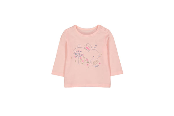 Girls Full Sleeves T-Shirt Bunny Print - Pink