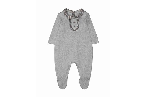 Grey Velour Floral All In One
