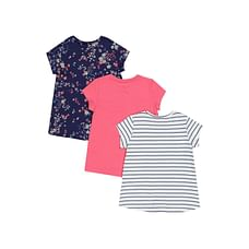 Floral Stripe T-Shirts - 3 Pack