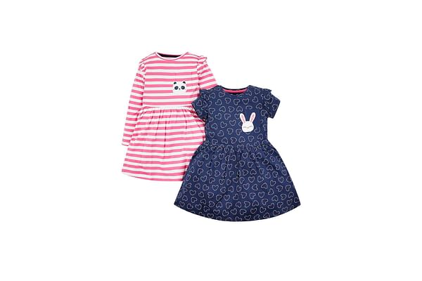 Girls Full Sleeves Print And Patch Casual Dresses - Pack Of 2 - Multicolor