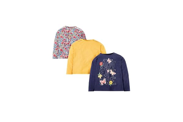 Girls Full Sleeves Shoulder Lace Printed T-Shirts - Pack Of 3 - Multicolor