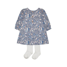 Girls Full Sleeves Dress & Tight Set A -Line Floral Print - Navy