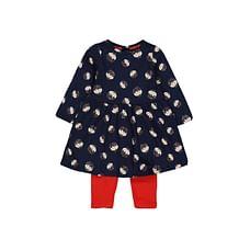 Girls Full Sleeves Dress & Legging Set Christmas Print - Pack Of 2 - Red Navy