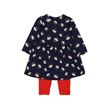 Girls Full Sleeves Dress & Legging Set Christmas Print - Pack Of 2 - Red Navy