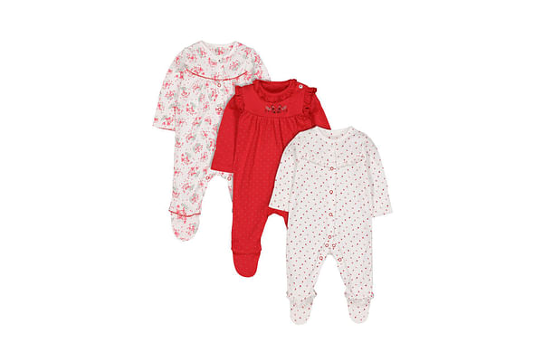 Girls Full Sleeves Sleepsuit Berry Print And Embroidery - Pack Of 3 - Red White