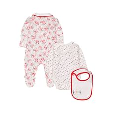 Girls Full Sleeves 3 Piece Set Berry Print And Embroidery - White