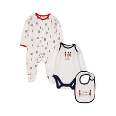 Boys Full Sleeves 3 Piece Set Soldier Print And Embroidery - White