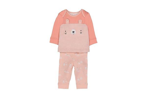 Girls Full Sleeves Pyjamas Fluffy Novelty Bear - Pink