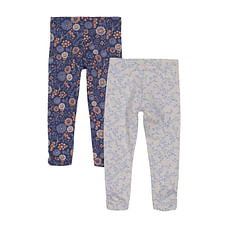 Blue And Grey Floral Leggings - 2 Pack