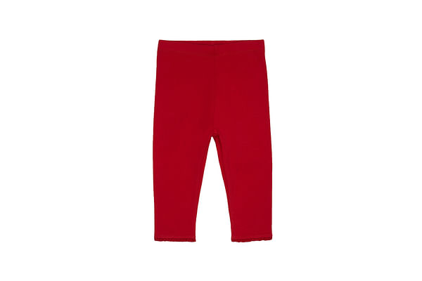 Girls Leggings Elasticated Waistband With Lace - Red