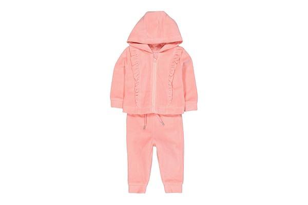 Girls Full Sleeves Jogger Sweatshirt Set Velour With Ruffles - Pack Of 2 - Pink