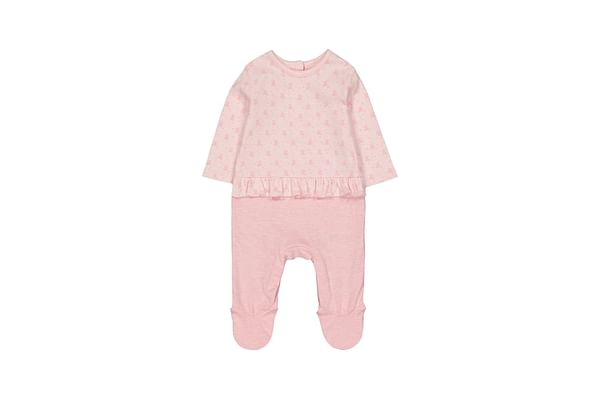 Girls Full Sleeves Bear Mock Frill Top Romper - Pink