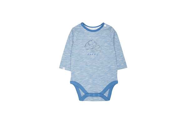 Boys Full Sleeves Bodysuit Elephant Print - Blue
