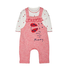 Striped Strawberry Dungarees And Bodysuit Set