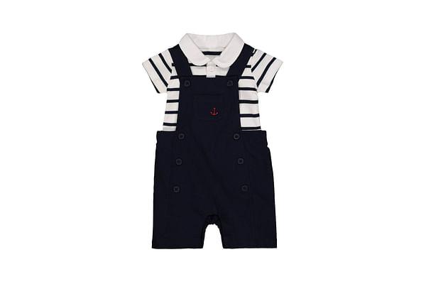 Anchor Navy Bibshorts And Stripe Bodysuit Set