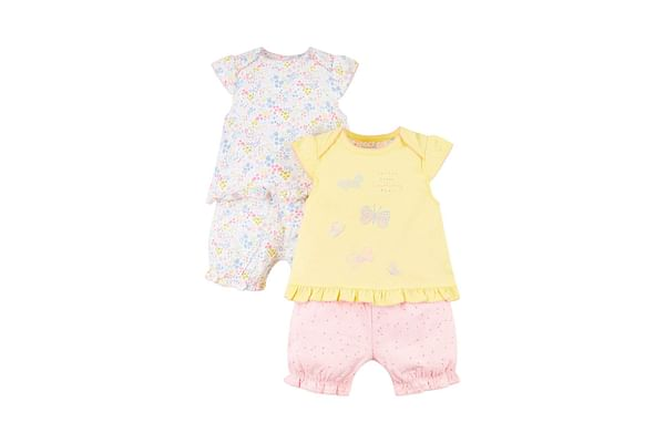 Girls Half Sleeves Floral Butterfly Nightsuit - Pack Of 2 - Multicolor