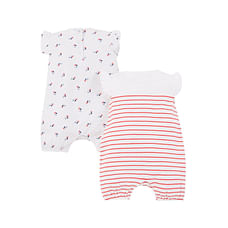 Girls Half Sleeves Rompers Floral And Glitter Star Print - Pack Of 2 - White Red