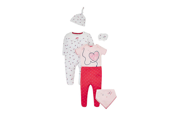 Girls Floral And Heart Print 6 Piece Set - Multicolor