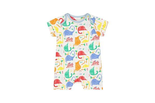 Boys Half Sleeves Romper Dinosaur Print - Multicolor