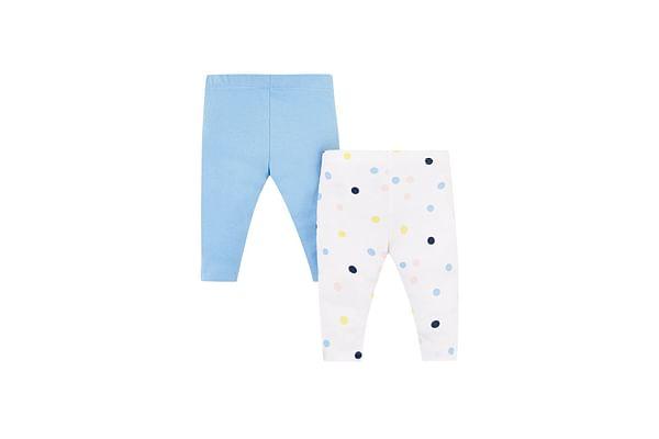 Girls Spot Cotton Leggings - Pack Of 2 - Multicolor