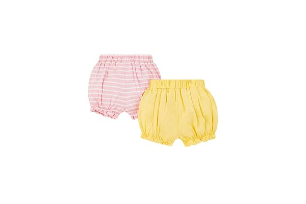 Girls Knitted Shorts Stripe - Pack Of 2 - Yellow Pink