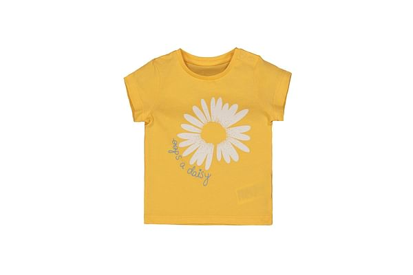 Girls Half Sleeves T-Shirt Floral Print - Yellow