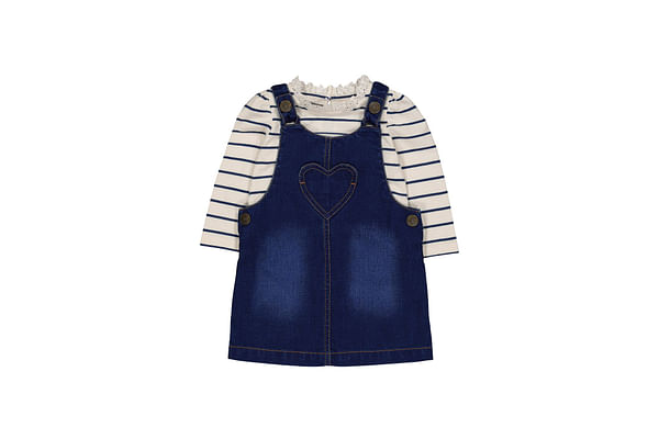 Blue Denim Heart Pinny And Stripe T-Shirt Set