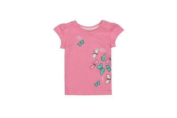 Girls Half Sleeves T-Shirt Butterfly Print - Pink