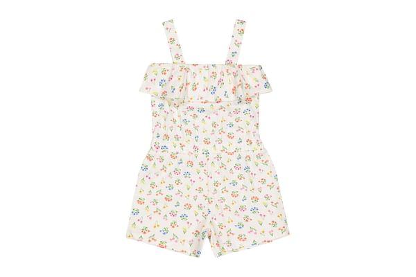 Girls Sleeveless Jumpsuit Floral Print - White