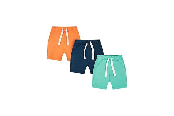 Boys Shorts - Pack Of 3 - Orange Navy Green