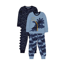 Boys Full Sleeves Pyjamas Dinosaur Print - Pack Of 2 - Multicolor