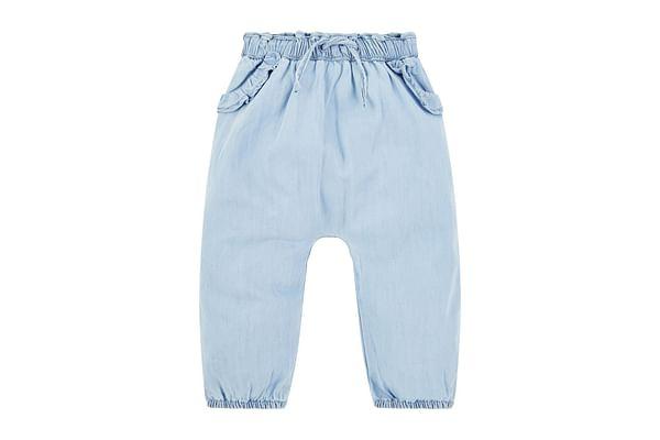 Girls Harem Trouser Denim Frill With Elasticated Waistband - Blue