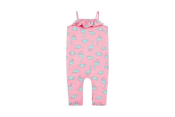 Girls Sleeveless Jumpsuits Dino Print - Pink