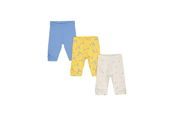 Girls Leggings Floral Print With Elasticated Waistband - Pack Of 3 - Blue Yellow White