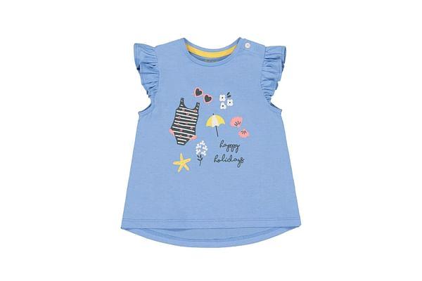 Girls Sleeveless T-Shirt Floral Print & Frill - Blue