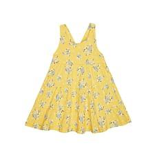 Girls Sleeveless Dress Tiered Floral  Print - Yellow