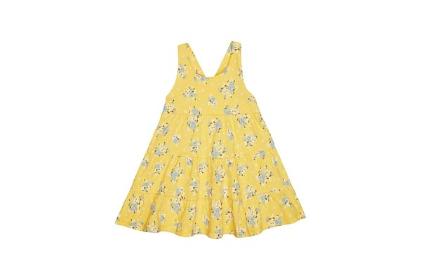 Girls Sleeveless Dress Tiered Floral  Print - Yellow