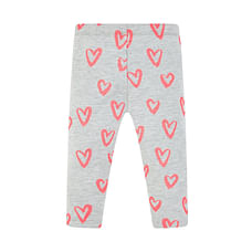 Girls Legging Heart Print With Elasticated Waistband - Grey
